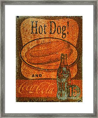 Coca Cola Rusty Sign Framed Print by Paul Ward