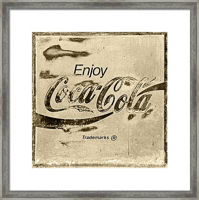 Coca Cola Sign Retro Style Framed Print by John Stephens