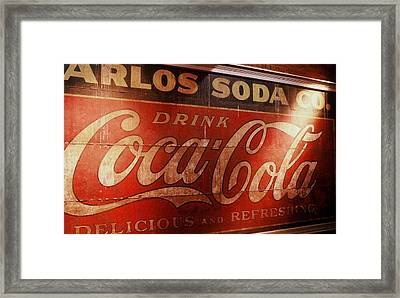 Framed Print featuring the photograph Coca Cola Sign by Rodney Lee Williams