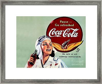Coca Cola Vintage Ad Poster Framed Print