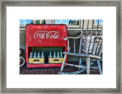 Coca Cola Vintage Cooler And Rocking Chair Framed Print by Paul Ward