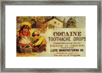Cocaine Toothache Drops Framed Print