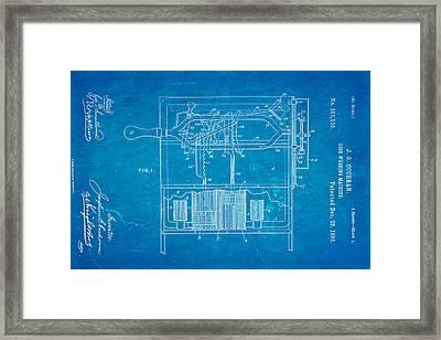 Cochran Dish Washing Machine Patent Art 1886 Blueprint Framed Print by Ian Monk