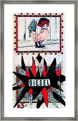 Framed Print featuring the digital art Cock Diesel by Lisa Piper