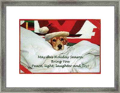 Framed Print featuring the photograph Cocker Spaniel Santa Greetings by Polly Peacock