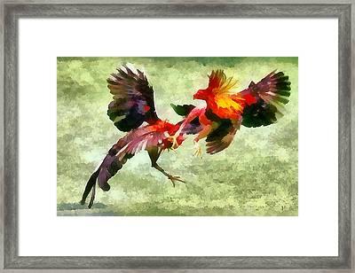 Cockfight - Pelea De Gallos Framed Print by Galeria Zullian  Trompiz