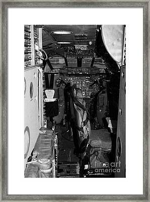 cockpit of the British Airways Concorde exhibit at the Intrepid Sea Air Space Museum Framed Print