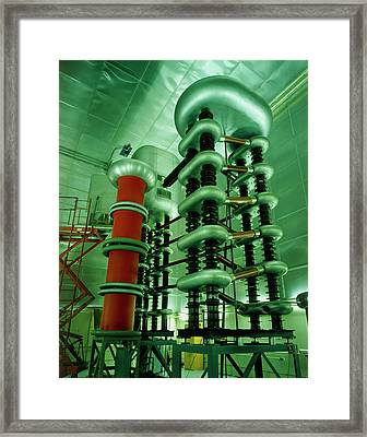 Cockroft-walton Generator At Bnl Framed Print by David Parker/science Photo Library