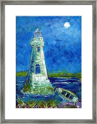 Framed Print featuring the painting Cockspur Lighthouse Mini #7 by Doris Blessington