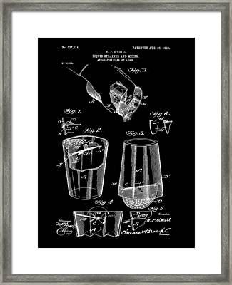 Cocktail Mixer And Strainer Patent 1902 - Black Framed Print by Stephen Younts