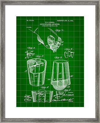 Cocktail Mixer And Strainer Patent 1902 - Green Framed Print by Stephen Younts
