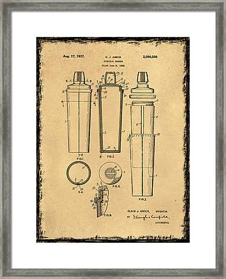 Cocktail Shaker Patent 1937 Framed Print by Mark Rogan