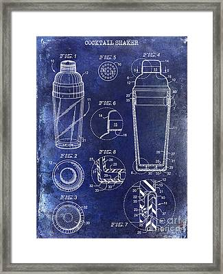 Cocktail Shaker Patent Drawing Blue Framed Print