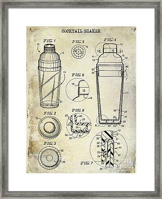 Cocktail Shaker Patent Drawing Framed Print by Jon Neidert