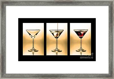 Cocktail Triptych In Gold Framed Print by Jane Rix