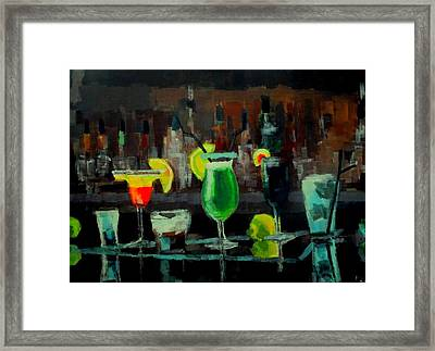 Cocktails Of Truth Framed Print by Maria Mimi