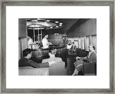 Cocktails On The Mercury Train Framed Print by Underwood Archives