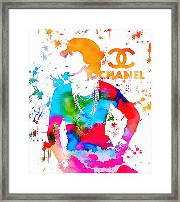 Coco Chanel Paint Splatter Framed Print