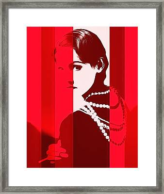Coco Chanel Red Stripes Framed Print by Dan Sproul