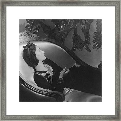 Coco Chanel Smoking Framed Print by Horst P. Horst