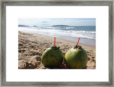 Coconuts Juice On The Beach Framed Print by Chikako Hashimoto Lichnowsky