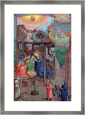 Codex Ser Nov 2844 Birth Of Christ, From The Rothschild Prayer Book Vellum Framed Print by Flemish School