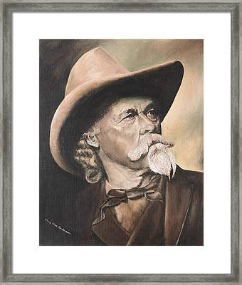 Framed Print featuring the painting Cody - Western Gentleman by Mary Ellen Anderson