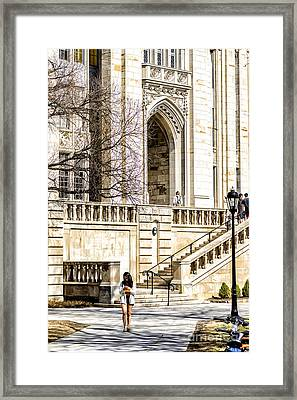Coed Checks Cell Phone Framed Print by Thomas R Fletcher