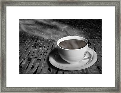 Coffe Cup And Saucer With Alphabet Lettering Framed Print by Randall Nyhof