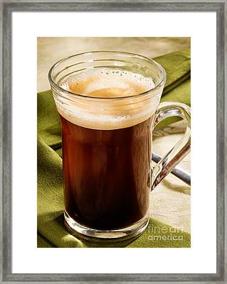 Coffe In Tall Glass On Green Framed Print by Iris Richardson