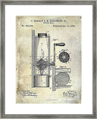 Coffee Mill Patent 1893 Framed Print