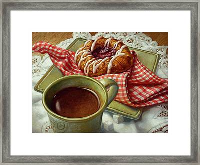 Framed Print featuring the painting Coffee And Danish by Mia Tavonatti