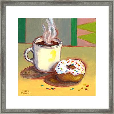 Coffee And Donut Framed Print by Susan Thomas