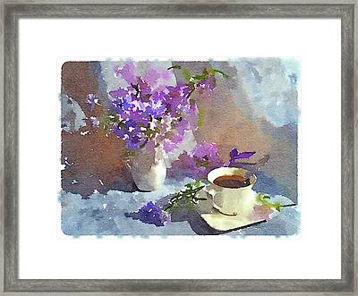 Coffee And Flowers Framed Print by Yury Malkov