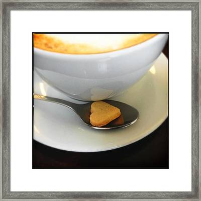 Coffee And Heart Shaped Cookie Framed Print