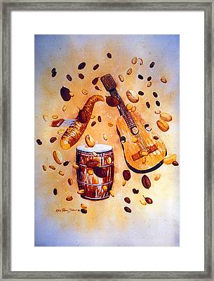 Coffee And Music Framed Print by Estela Robles