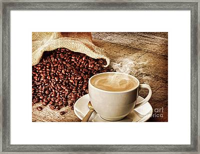 Coffee And Sack Of Coffee Beans Framed Print