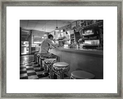 Coffee At Louie M's Framed Print by Nikolyn McDonald