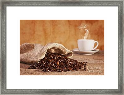 Coffee Beans And Burlap Sack Framed Print by Colin and Linda McKie