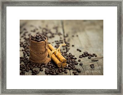 Coffee Beans And Cinnamon Stick Framed Print