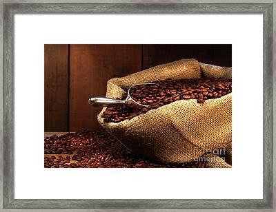 Coffee Beans In Burlap Sack Framed Print by Sandra Cunningham