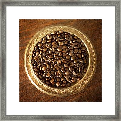 Coffee Beans On Antique Silver Platter Framed Print