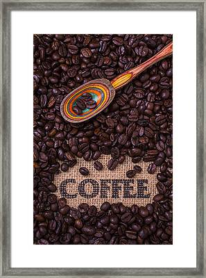 Coffee Beans With Spoon Framed Print by Garry Gay