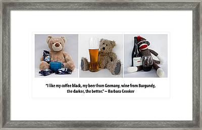 Coffee Beer And Wine 2 Framed Print by William Patrick