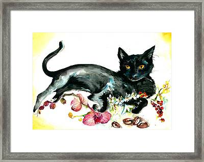 Coffee Black Cat Vintage Style Large Format Xxl Framed Print by Tiberiu Soos