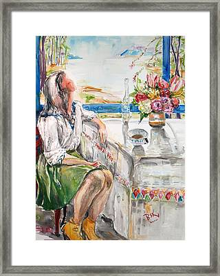 Coffee Break Framed Print by Becky Kim