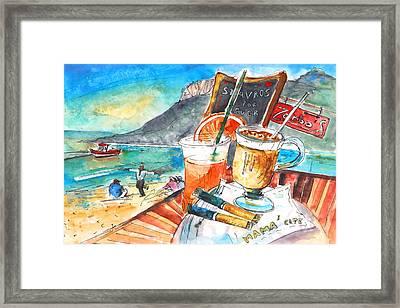 Coffee Break In Stavros In Crete Framed Print by Miki De Goodaboom