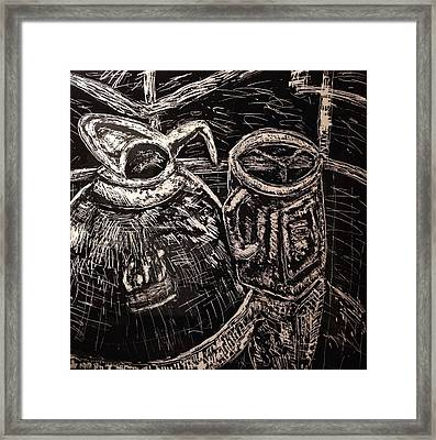 Coffee Carafe And Mason Jar Mug Framed Print