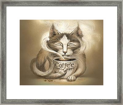 Coffee Cat Framed Print by Jeff Haynie