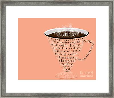 Coffee Cup The Jetsons Peach Framed Print by Andee Design
